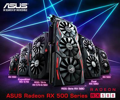 Новые видеокарты ASUS на базе графических процессоров Radeon RX 500-ой серии